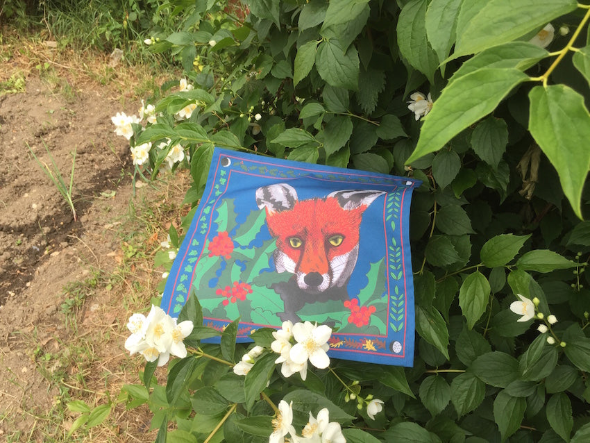 Fox and the holly organic handkerchief