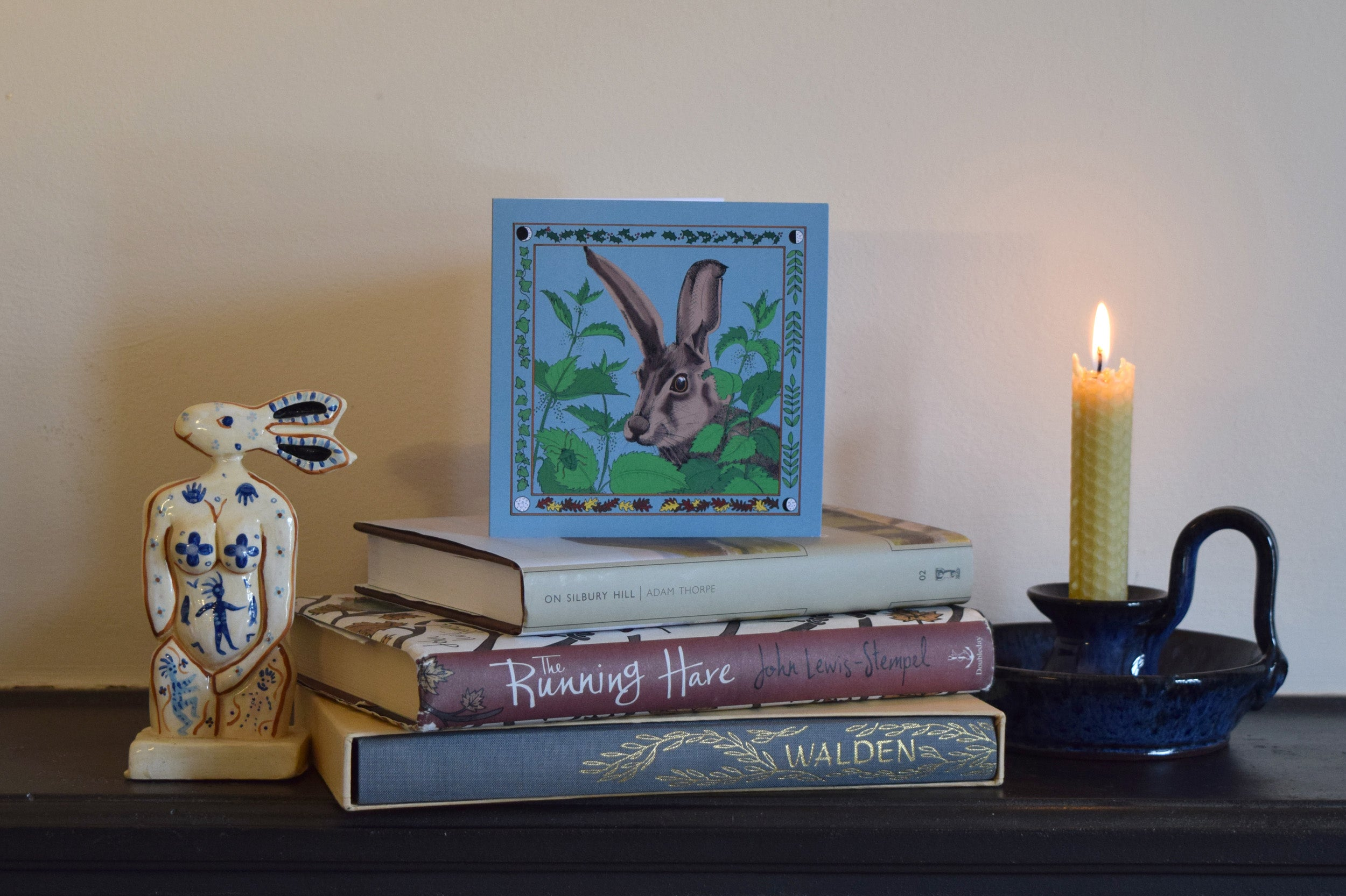 Hare and nettles greeting card