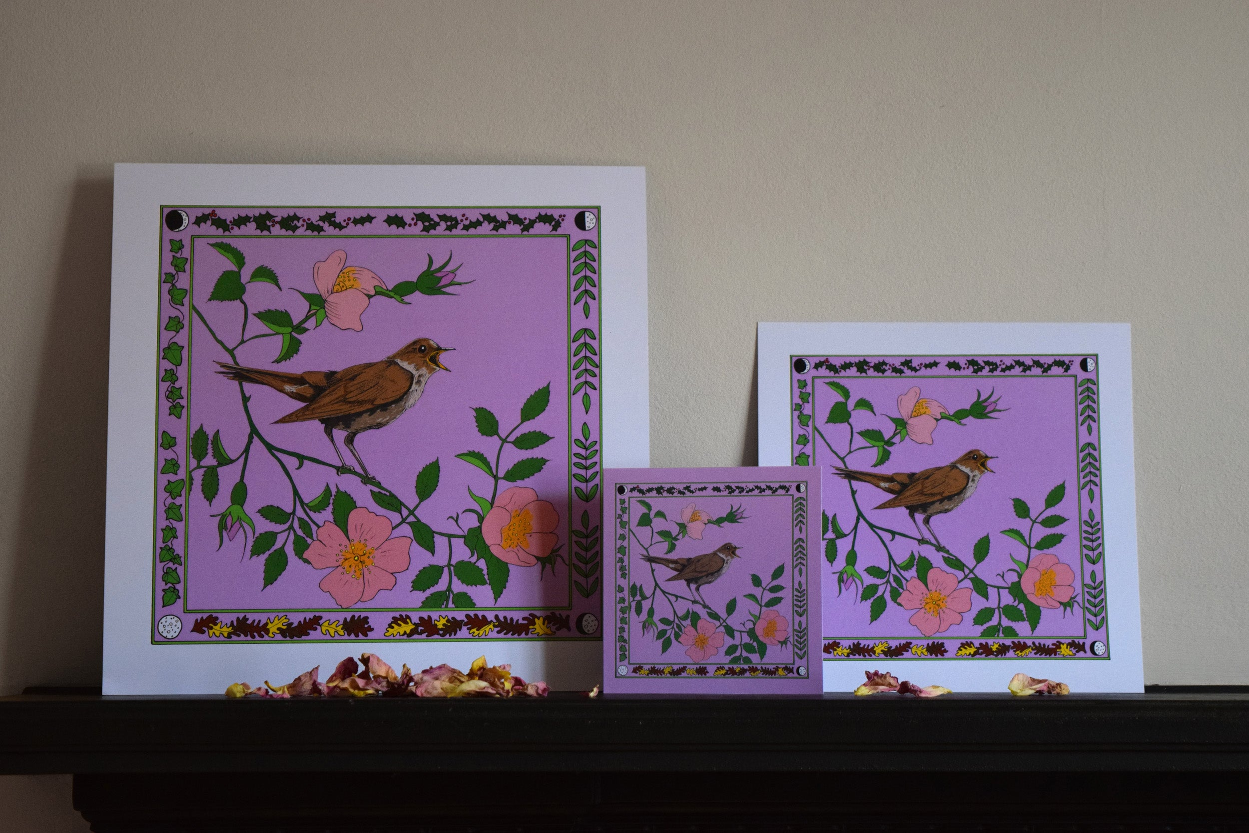 Nightingale and dog rose art print
