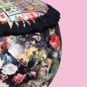 Floral Patchwork & Stamp print Queen Pouf Chair