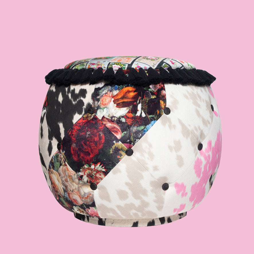 Floral Queen Patch work pouf Chair
