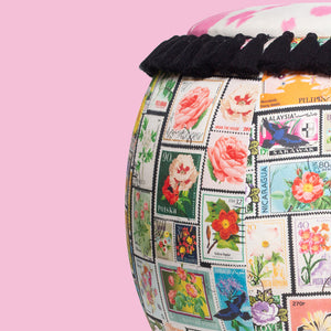 Vintage Stamp print Queen Pouf Chair
