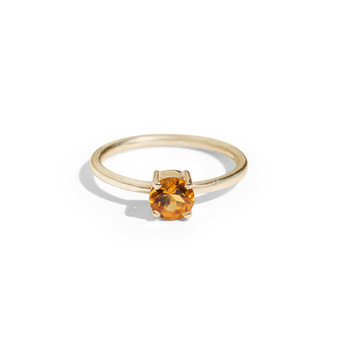 9ct Gold luxury round citrine ring