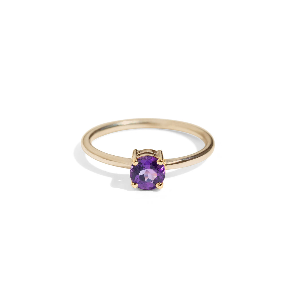 9ct Gold luxury round amethyst ring