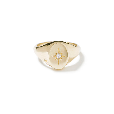 9ct yellow gold star pave signet ring