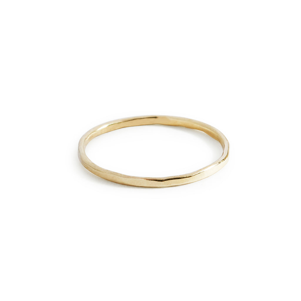 9ct yellow gold hammered dainty stack ring