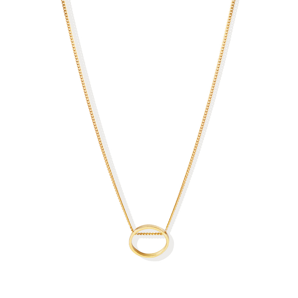 threaded oval necklace