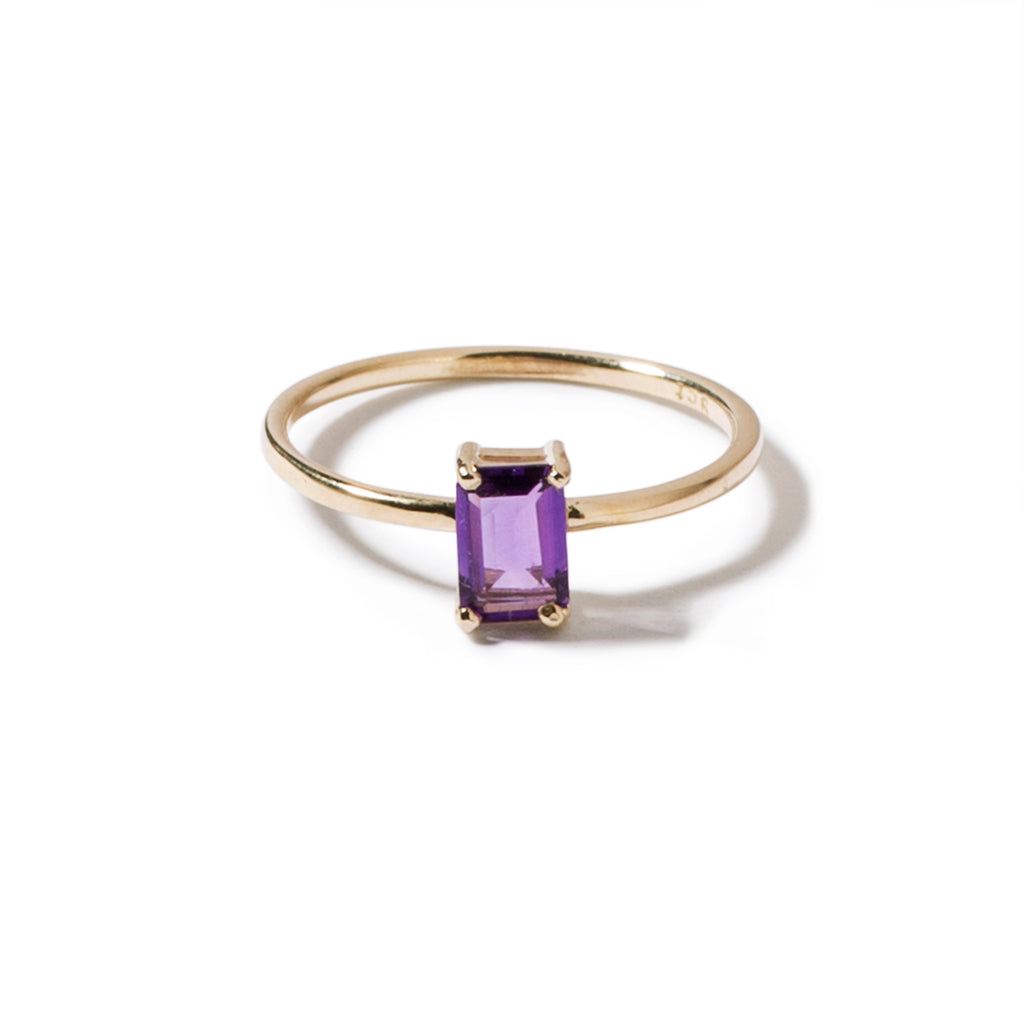9ct yellow gold luxury emerald cut amethyst ring - vertical