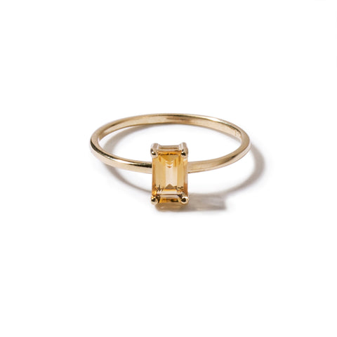 9ct yellow gold luxury emerald cut citrine ring - vertical