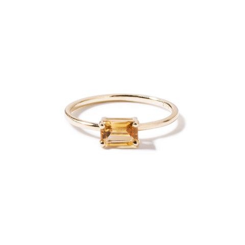 9ct yellow gold luxury emerald cut citrine ring - horizontal