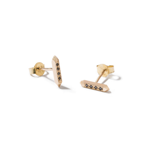 9ct faceted bar studs with black diamonds