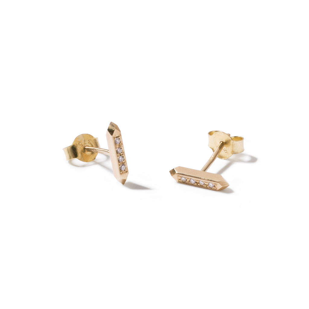 9ct faceted bar studs with clear diamonds