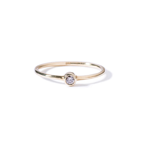 9ct yellow gold champagne diamond solitaire