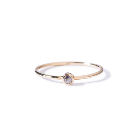 9ct yellow gold grey diamond solitaire
