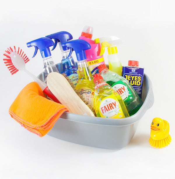 cleaning products in washing up bowl