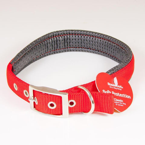 "Padded Dog Collar Soft Protection 22"" Red"