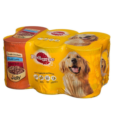 Pedigree 6 Pack Tin Dog Food in Jelly