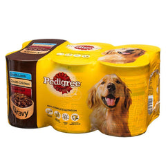 6 Pack Tin Dog Food in Gravy