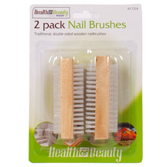 Double Sided Wooden Nail Brushes 2pk