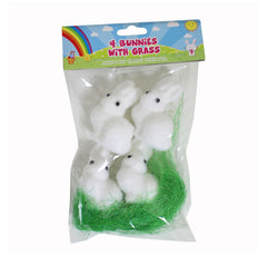 4 Easter Bunnies With Grass