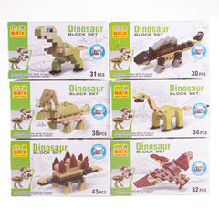Dinosaur Brick Sets 6 Assorted