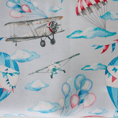 Grey - Pattern : Planes and Balloons