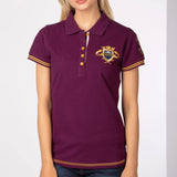 Burgandy Ladies Polo Shirt With Riding Emblem