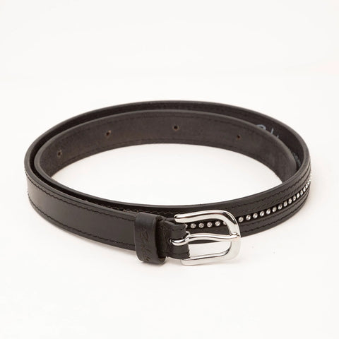 Black Leather Belt For Women With Diamante Inlays