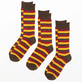 Rydale Mens Tri stripe Walking Socks Three Pack Brown