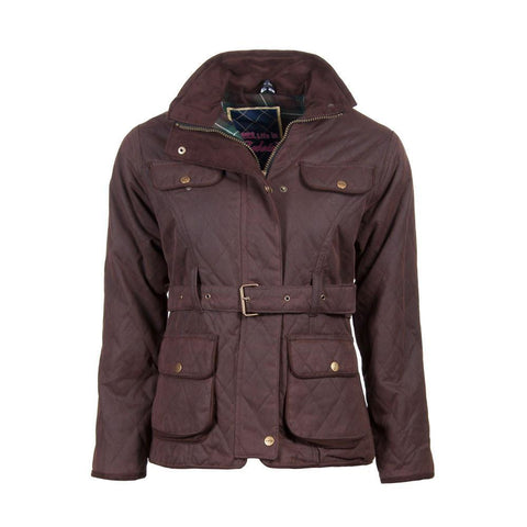 Ladies Belted Diamond Quilted Waxed Cotton Country Jacket
