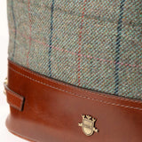 Green Tweed Checked Ladies Bucket Style Handbag