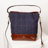 Ladies Navy Check Tweed Tote Handbag