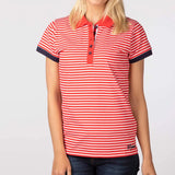 Ladies Polo Shirt With Thin Horizontal Stripes Cherry Red & White