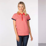 Red Striped Ladies Polo Shirt