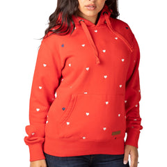 Cherry Red Love Hearts Embroidered Pattern Hoodies