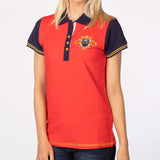 Cherry Red Ladies Polo Shirt With Equestriam Emblem