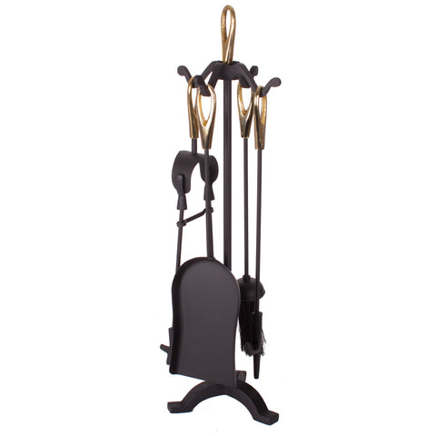 Cast Iron Fireside Companion Set Copper Topped