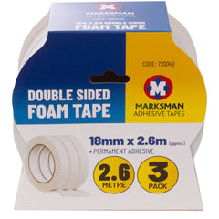Marksman Double Sided Foam Tape 3 Pack