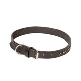 Black Leather Dog Collar With Diamante Inlays
