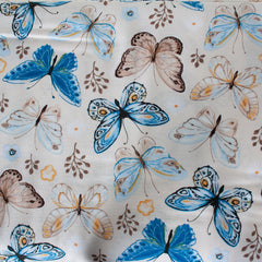 Ivory, Light & Dark Blue, Yellow &Brown - Pattern : Butterflies