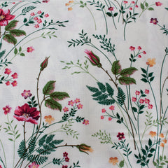 Ivory, Pink, Light & Dark Green - Pattern : Flowers
