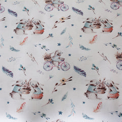 Ivory, Blue, Red - Pattern : Rabbits