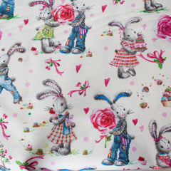 Natural, Pink, Blue, Green - Pattern : Rabbits