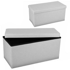 Urban Living Foldable Storage Ottoman Grey ( 76 x 37.5 x 37.5cm)