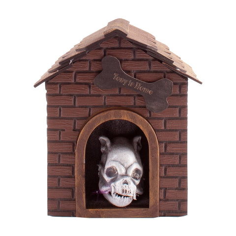 Spooky Halloween Skeleton Dog House With Light and Sound