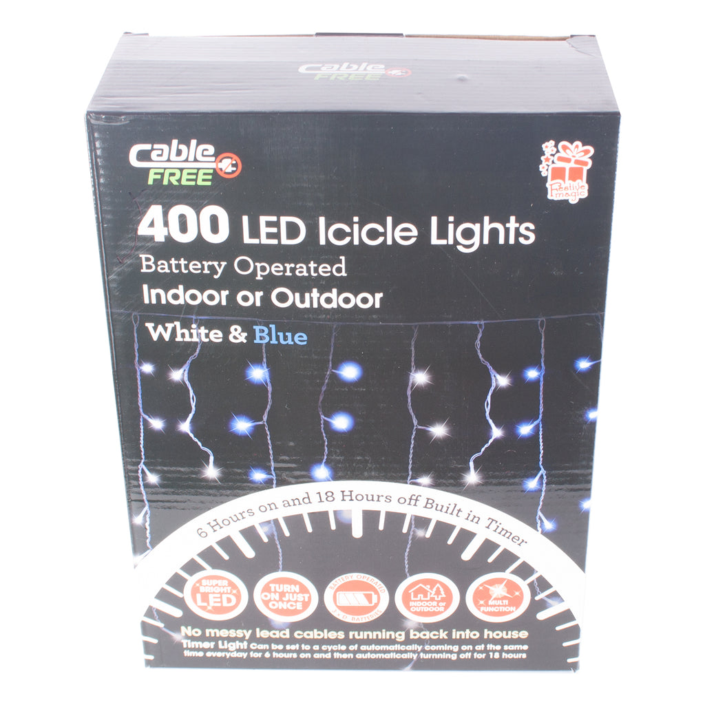 Battery Operated Christmas 400 LED Icicle Lights Range UK