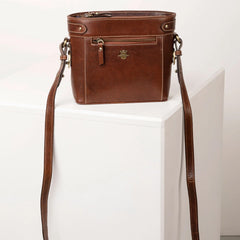 Ladies Bramham Leather Boxy Cross Body Bag