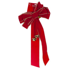 Festive Flocked Bow With Bells