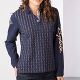 Navy & Gold Long Sleeved Polo Shirt With Printed Snaffle Pattern