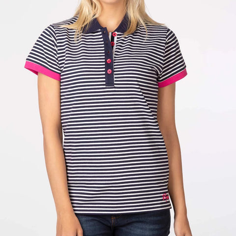 Ladies Polo Shirt With Thin Horizontal Stripes Navy Blue & White